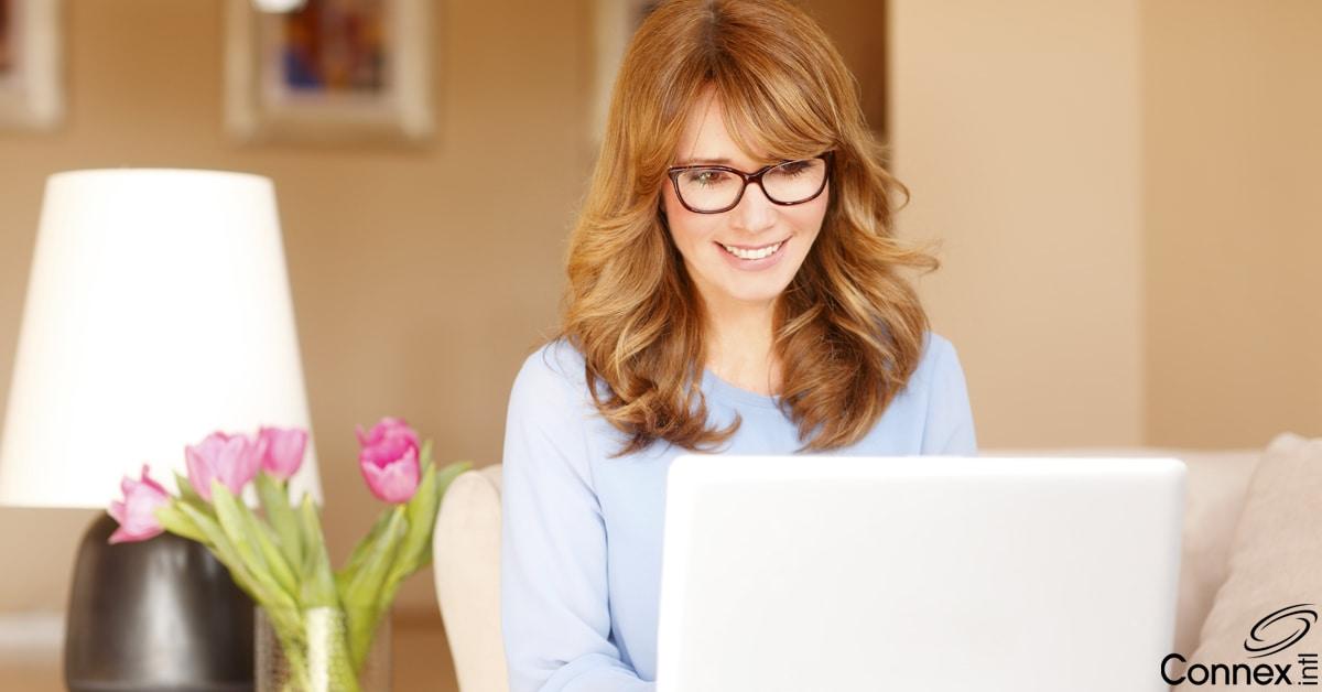 Woman attending a virutal workshop